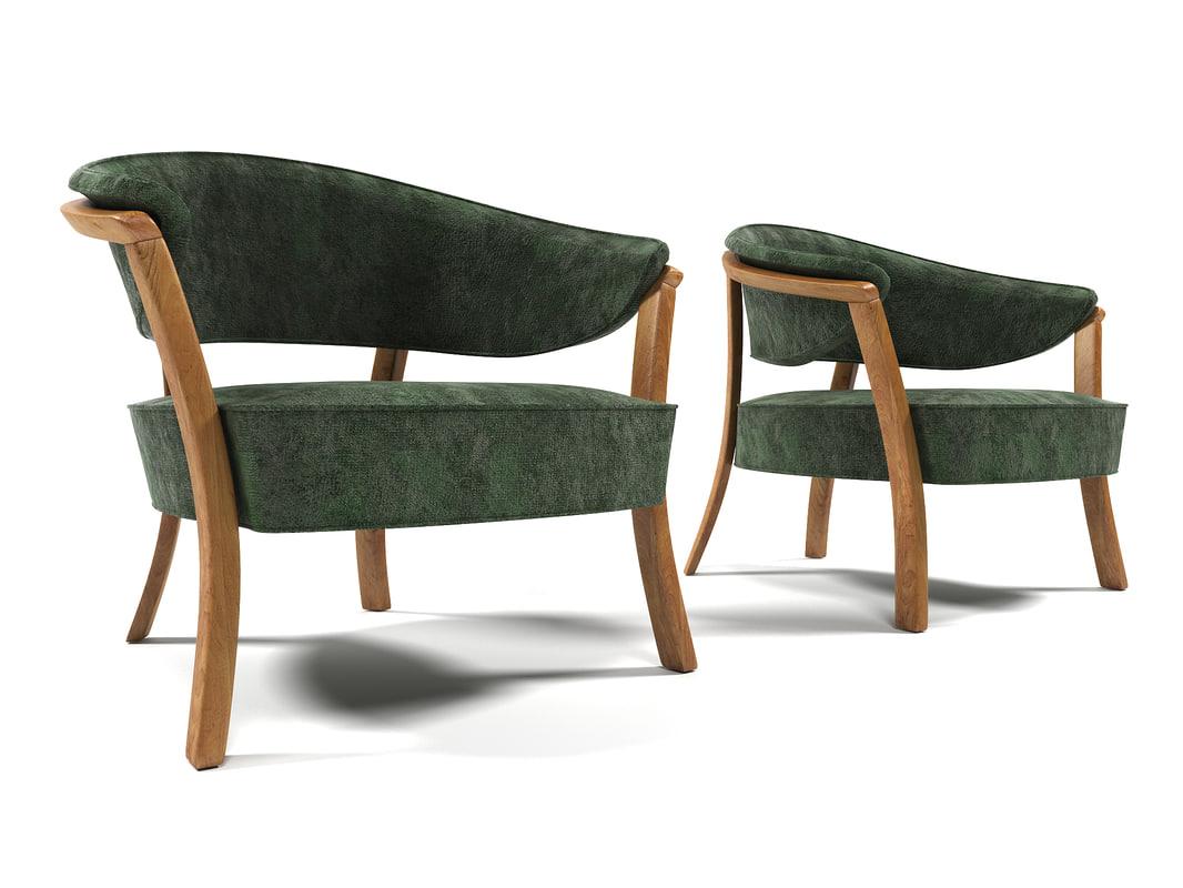 3D 1011 velvet armchair model