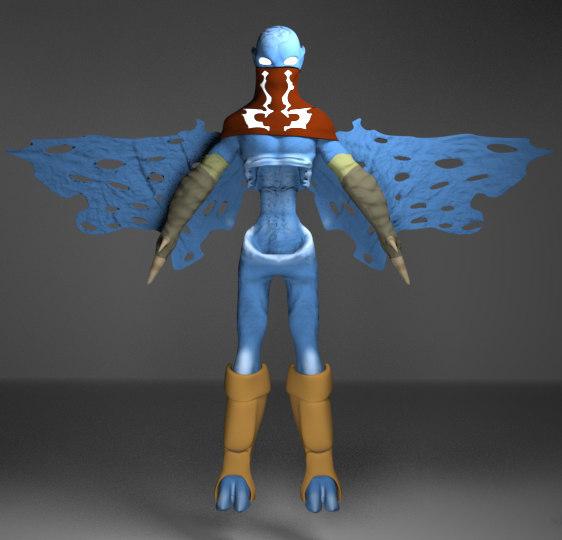 vampire wings animation 3D model