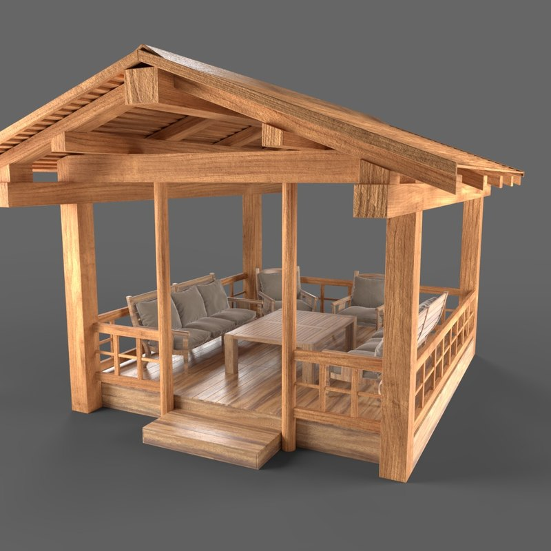 wooden pavillon 3D