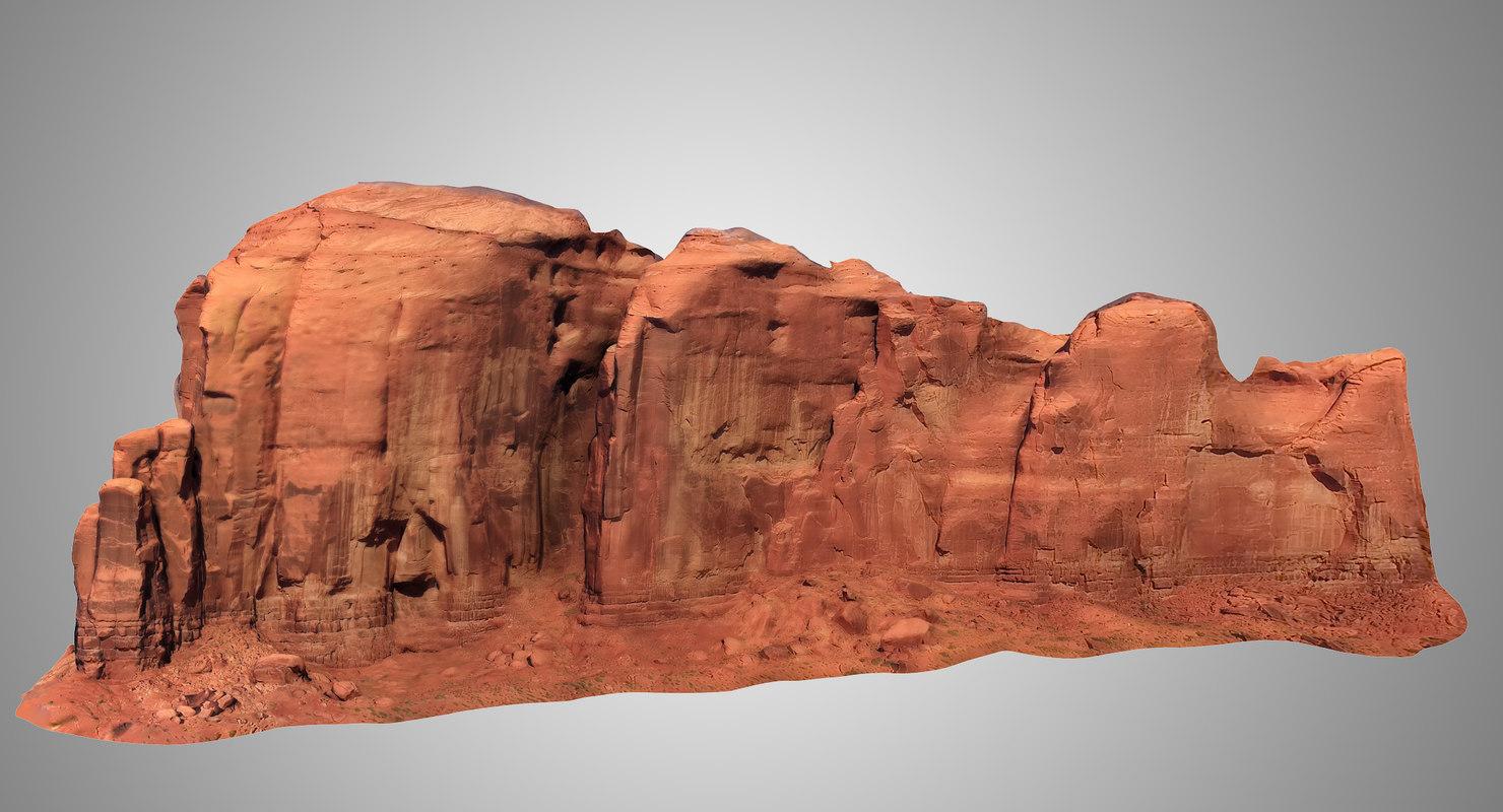 3D vast sandstone butte