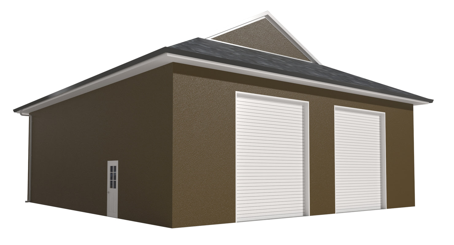 garage stucco doors 3D model