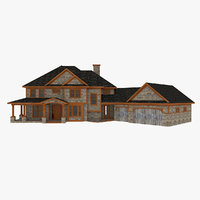 3D american big suburban house model
