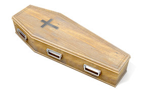wooden coffin crucifix 3D