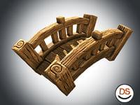 Cartoon stylized wood game bridge