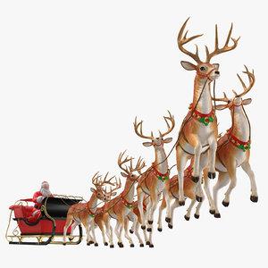 santa claus reindeer flying 3D