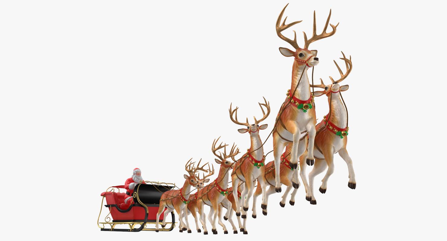santa claus reindeer flying 3d - Santa Claus And Reindeers