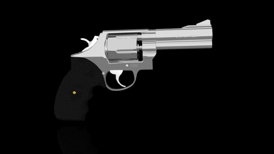 3D smith wesson revolver gun