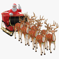 santa claus reindeer walking 3D model