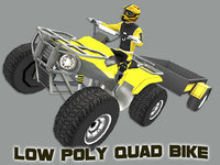 Low Poly Quad Bike With Player & Trailer 5