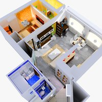 Small flat apartment with furniture, combined living room and kitchen, bedroom, kids room, toilet, bathroom, and hallway