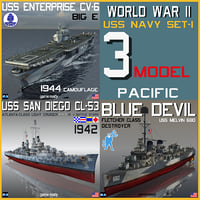 3D model uss navy ww ii