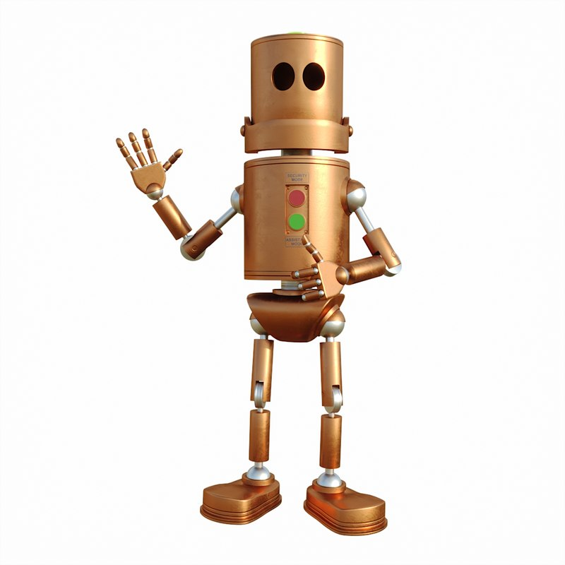 3D old metal robot bukk