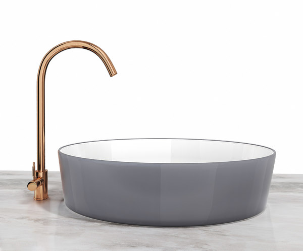 ceramic sink copper faucet 3D model