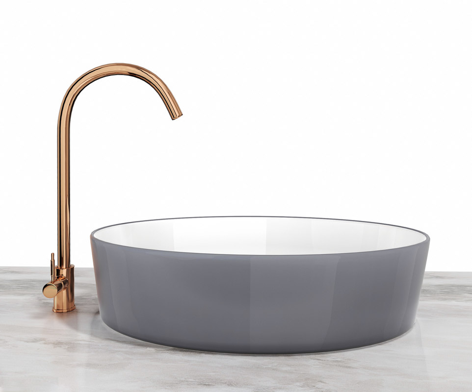ceramic sink copper faucet 3D model