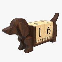 3D dog perpetural calendar model