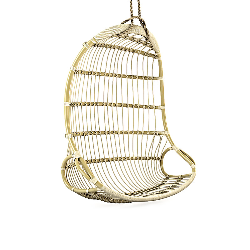 3D hanging rattan chair model