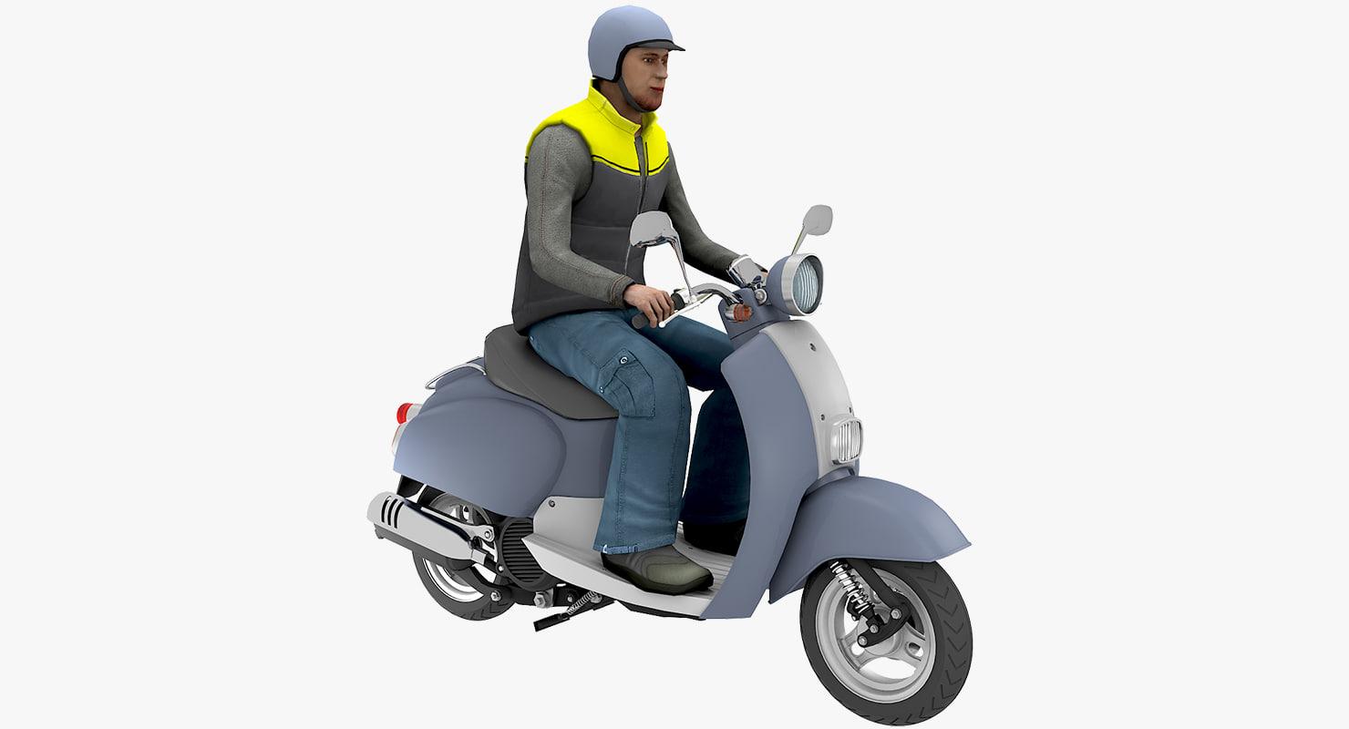 scooter man 01 3D model