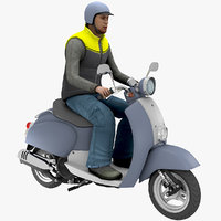 scooter man 01 3D model