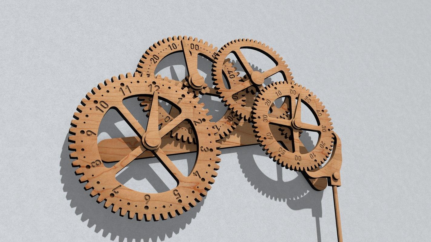 3D wooden gears clock