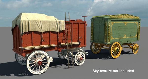 circus wagons 3D model