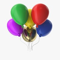 3D multicolored balloons model