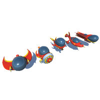 spaceships cartoon low-poly 3D model
