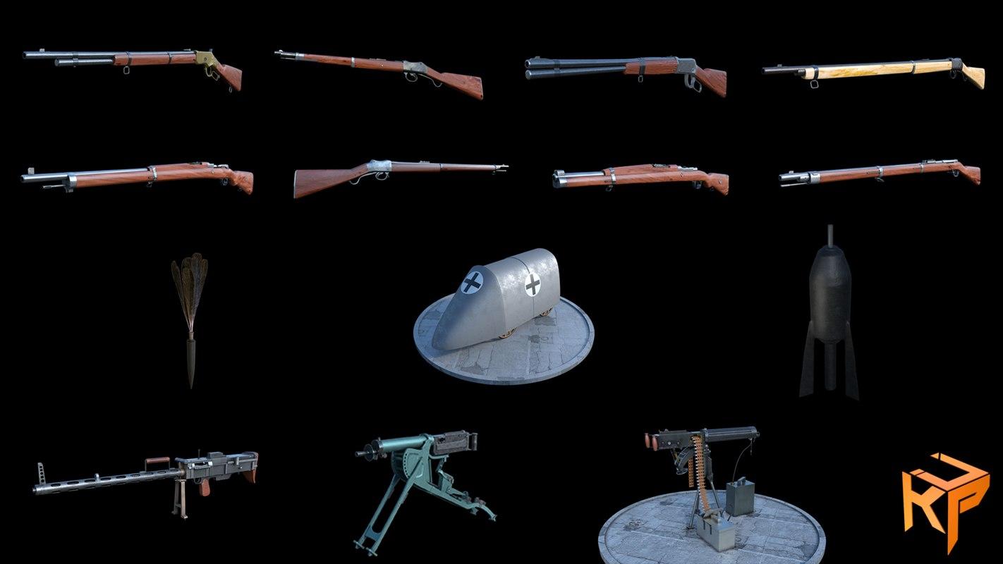 gun ww1 3D model