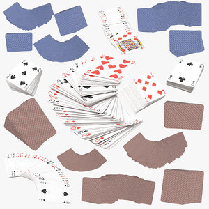 3D blue playing cards model