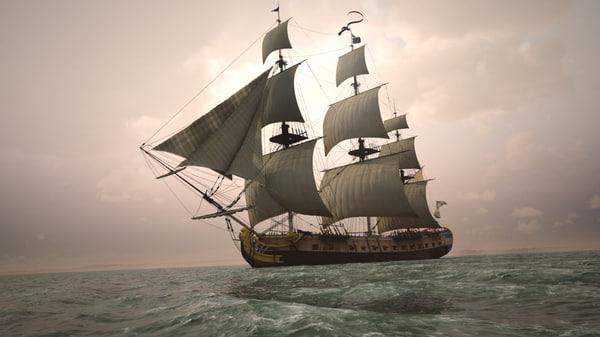 frigate hermione war ship 3D