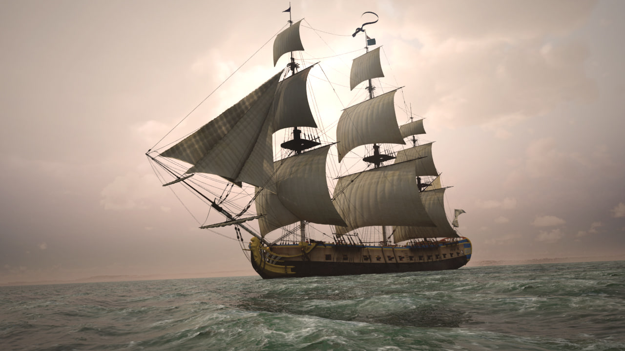 frigate hermione war ship 3D