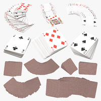 3D red playing cards