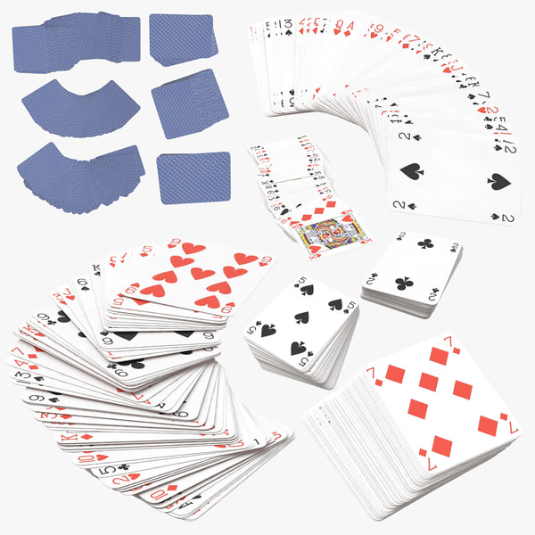 3D model blue playing card