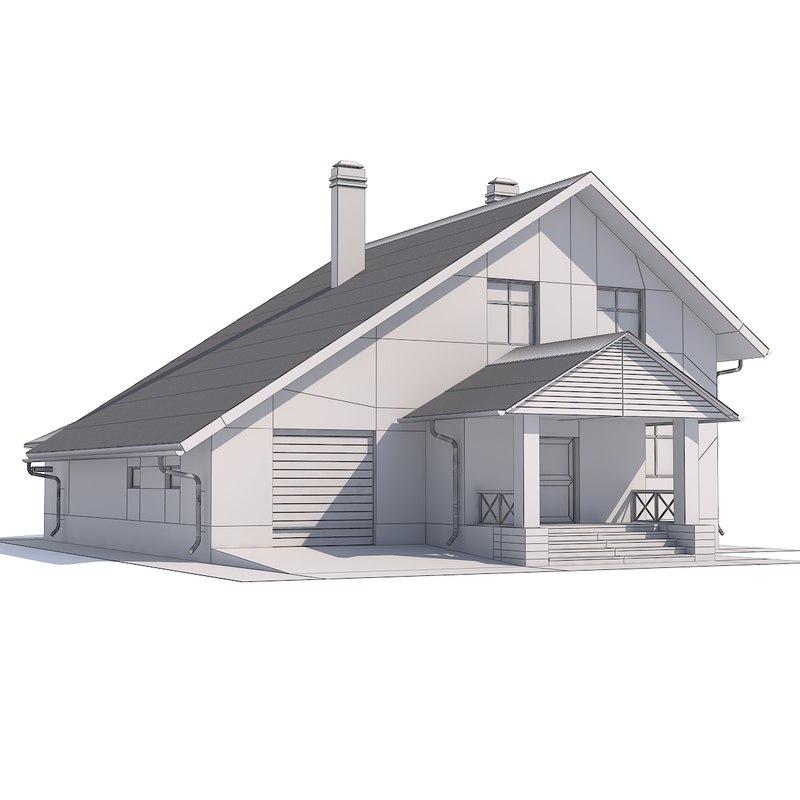 3D house attic model