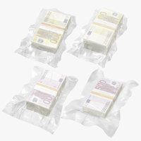 wrapped bill - euro money 3D