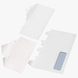 3D model open mail envelopes