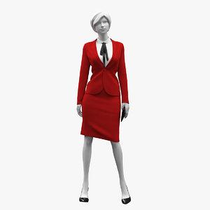 3D realistic woman suit mannequin