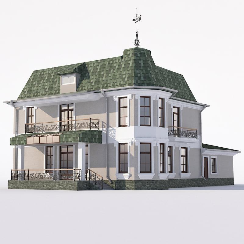 classic house bay windows 3D