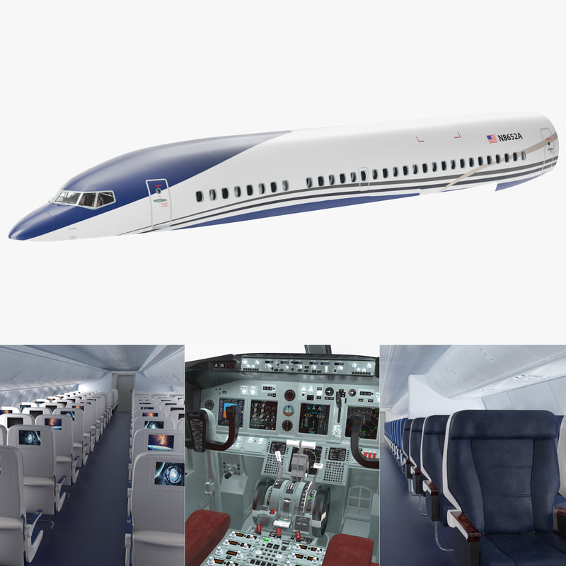 passenger airplane interior 3D model