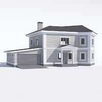 3D classic rustic house garage model