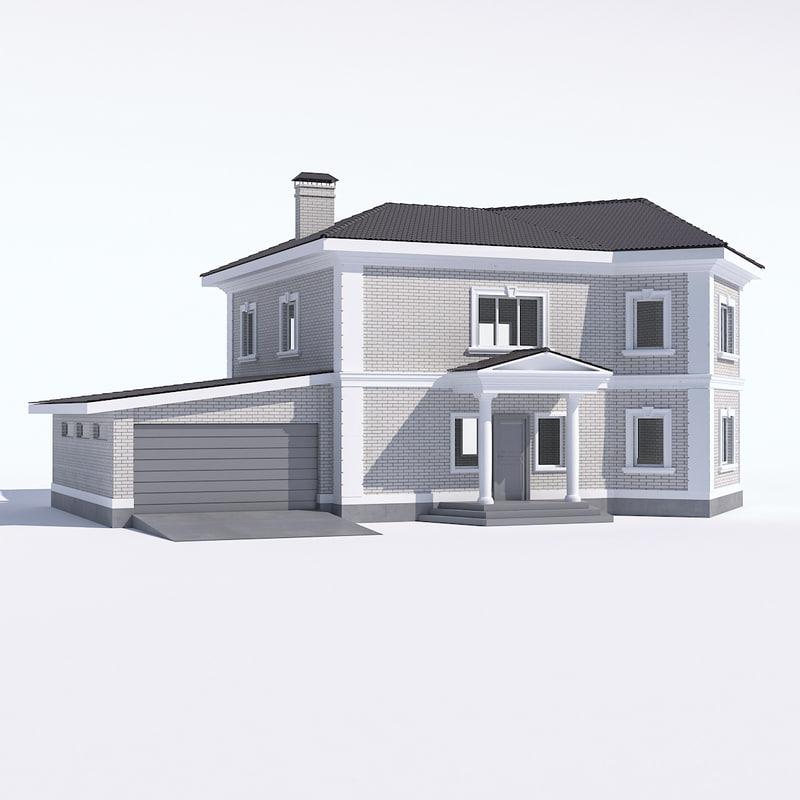 3D classic rustic house garage model