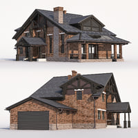 A Chalet house with a garage.