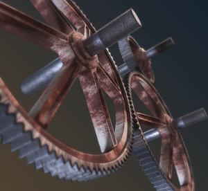 3D rusty gears