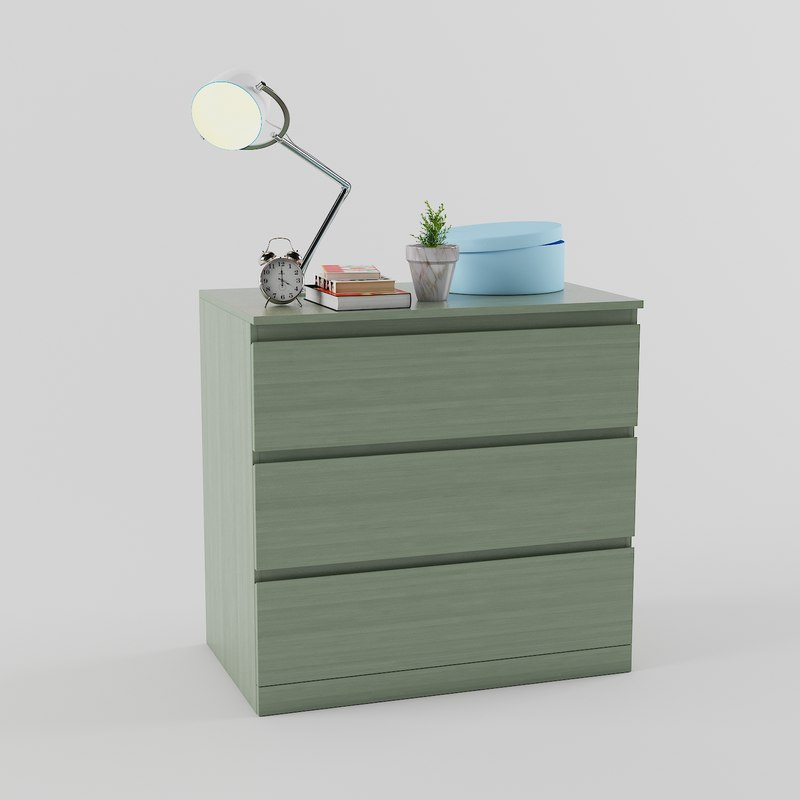 Beautiful 3D Chest Drawers Malm Ikea