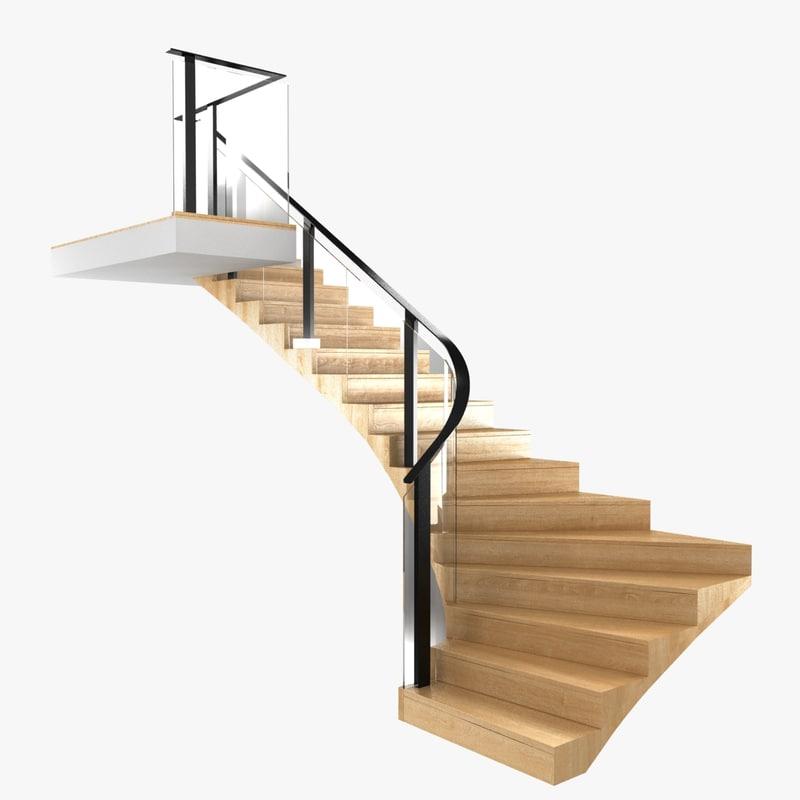 3D stairs corner wood interior