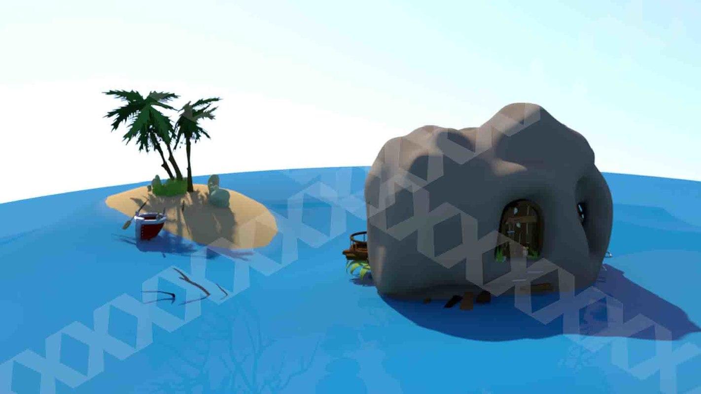 3D house sea island