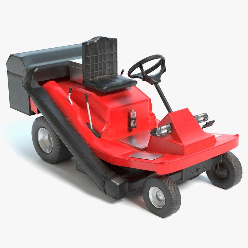 3D riding lawn mower model