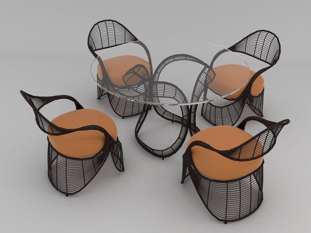 3D model table set rattan