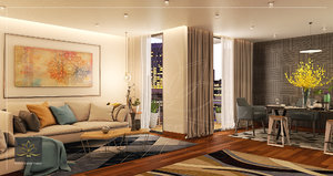 modern apartment reception living room 3D