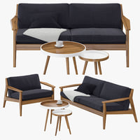 3D scandinavian sofa set model