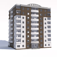 nine-storey apartment building 3D model